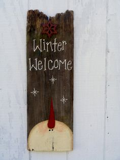 Primitive Snowman Welcome Sign by theprimplace on Etsy