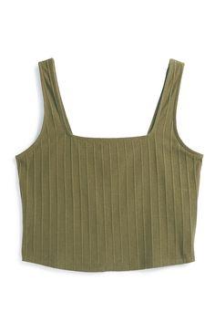 Kaki kort topje met vierkante hals Neue Outfits, Ribbed Bodysuit, Summer Tops, Tank Tops, Primark Uk, Fashion Trends, Clothes, Shopping, Black