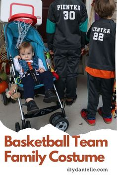 Dress everyone up as a basketball team for this clever family costume idea. Team Halloween Costumes, Family Costumes, Diy Costumes, Basketball Teams, Baby Strollers, Clever, Learning, Children, Dress