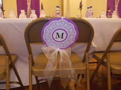 Wedding or reception chair covers. Medallions I made for my sister's reception 10/11/14