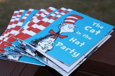 Cat In The Hat Birthday Invitation - A rewritten book to include the birthday boy and girl + party details.