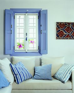 Living room area. Location: Spetses Hotel, Greece decorated with Davina fabrics