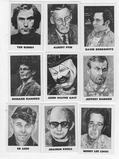 Macabre collectors cards of the most notorious Serial Killers. What kind of a world is this? Not only did these monsters exist, but trading cards? Paranormal, Famous Serial Killers, Jeffrey Dahmer, Natural Born Killers, Real Monsters, Ted Bundy, Evil People, Crazy People, Forensics