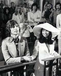 Mick and Bianca Jagger at their wedding, 1971.