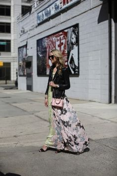 leather jacket and a maxi