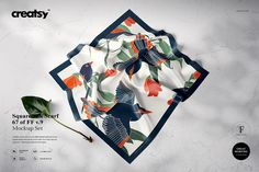 Square Silk Scarf Mockup by on Scarf Organization, Fabric Factory, Fashion Graphic Design, Textiles, Designer Scarves, Scarf Design, Square Scarf, Free Design, Silk