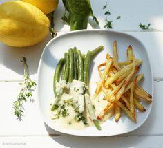 Strauchbohnen mit Zitronen-Thymiansauce und Pommes Allumettes |