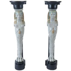 Pair of Egyptian Revival Corner Pedestals in the Style of Madeleine Castaing | From a unique collection of antique and modern pedestals at https://www.1stdibs.com/furniture/tables/pedestals/