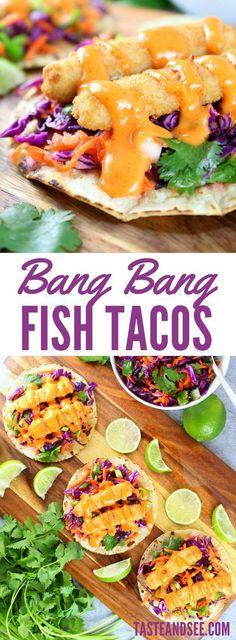 Bang Bang Fish Tacos – a delicious well-balanced meal! With lightly toasted corn tortillas, citrusy cabbage slaw, fish sticks, & yummy Bang Bang sauce! Fish Recipes, Seafood Recipes, Mexican Food Recipes, Dinner Recipes, Cooking Recipes, Healthy Recipes, Recipes With Fish Sticks, Seafood Meals, Tilapia Recipes