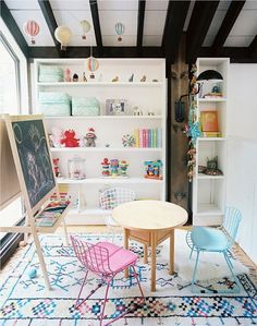 This series of rooms has one purpose: to help you with the Sisyphean task of keeping kids' rooms clean and shipshape. Each has a lot of stuff, but also plenty of storage and lots of style. No, they won't always look this good, but — when in doubt — go for extra shelving.