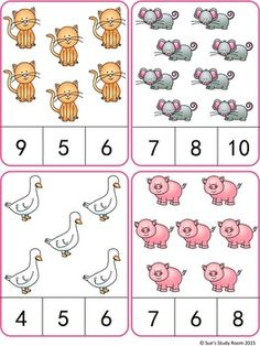 : Farm Animals Count and Clip Cards (Numbers 1 Counting Activities, Preschool Learning Activities, Preschool Printables, Preschool Activities, Kids Learning, Numbers Preschool, Kindergarten Math Worksheets, Math For Kids, Farm Animals