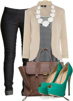 green pumps, suit coat, blazer, pants, purse
