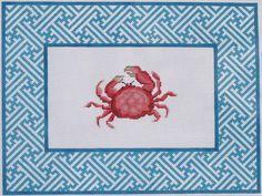 Kate Dickerson Needlepoint crab w/ chinoiserie lattice border
