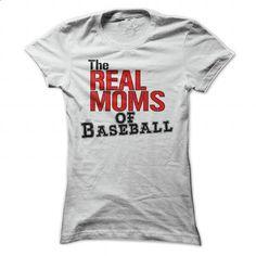 The REAL MOMS of baseball - #denim shirts #plain black hoodie. ORDER NOW => https://www.sunfrog.com/Sports/The-REAL-MOMS-of-baseball-White-Ladies.html?id=60505