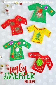 Felt Ugly Sweater - Kid Craft Christmas Activities For Kids, Winter Crafts For Kids, Easy Crafts For Kids, Toddler Crafts, Kids Christmas, Winter Activities, Preschool Christmas, Prim Christmas, Toddler Play