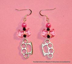 Kawaii Pink Bow Brass Knuckle Earrings on Etsy, $10.00