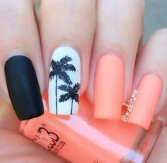 There are three kinds of fake nails which all come from the family of plastics. Acrylic nails are a liquid and powder mix. They are mixed in front of you and then they are brushed onto your nails and shaped. These nails are air dried. Tropical Nail Designs, Tropical Nail Art, Tropical Design, Nails Yellow, Coral Nails, Neon Orange Nails, Palm Tree Nails, Nails With Palm Trees, Nail Polish
