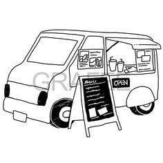 移動販売車(フード・カフェ)のイラスト