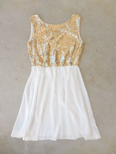 White and Gold Sequin Party Dress