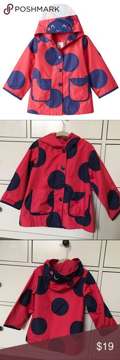 Carters 2T Ladybug Raincoat Oversized polka-dots and 3D antennae adorn this girls' Carter's ladybug rain jacket for a supersweet look. In red/navy. Size 2T, but runs large and fits like 3T. Features: * Snap front * Long sleeves * Lightweight and fully lined * Water-resistant design * Ladybug embroidered hood * 2-pockets 100% polyester shell and lining. Worn 2-3 times and in excellent condition. Comes from a smoke-free home. Carter's Jackets & Coats Raincoats