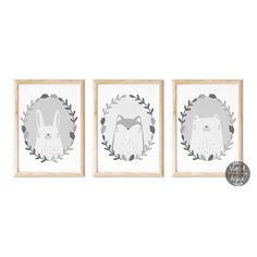 Set of Three Grey Animal Prints Kids Room Wall Art, Nursery Wall Art, Woodland Nursery Prints, Fox And Rabbit, Animal Nursery, Wall Art Sets, Animal Prints, Vibrant Colors, Bear