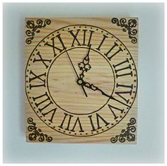 Wall clock pyrography by WoodOnFire on Etsy