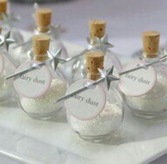 Bath salt wedding favors made to look like fairy dust to cute for a fairytale wedding!