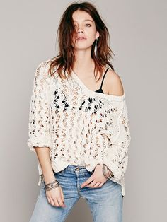 Free People Open Stitch V-Neck Pullover at Free People Clothing Boutique