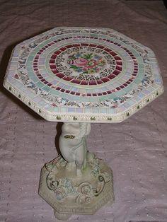 Shabby cherub mosaic table by mrsdutchy (shabbygirlmosaics), via Flickr