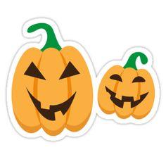 Fun Halloween sticker featuring two cute cartoon Jack o lantern pumpkins