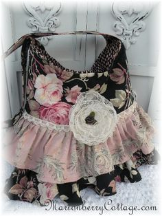 St.Remy de Provence Pink roses double ruffle handbag