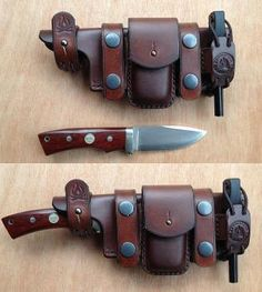 The knife, the sheath. Flint stick, pouch for tinder, knife for cutting larger tinder. all made to be worn on either a belt or holster style. (Could also be made to work with a modified kiridashi. Leather Armor, Leather Holster, Leather Tooling, Bushcraft Knives, Tactical Knives, Tactical Gear, Sacoche Holster, Crea Cuir, Leather Bracelets