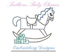 Rocking Horse Toy Vintage Stitch Design File for Embroidery Machine Instant Download Quick Stitch Hand Stitched Look by SouthernBabyClassics on Etsy