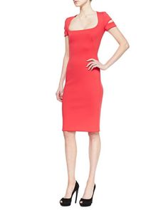Neoprene Square-Neck Dress by Alexander McQueen at Neiman Marcus.