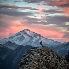 """""""A beautiful thing never gives so much pain as does failing to hear and see it. -Michelangelo  A mixture of alpenglow and light clouds danced above Glacier Peak as the sun sank to the west, an unforgettable display of beauty from our recent camp in the North Cascades.  #glacierpeak #northcascades #pnwonderland"""" Photo taken by @scott_kranz on Instagram, pinned via the InstaPin iOS App! http://www.instapinapp.com (08/27/2015)"""