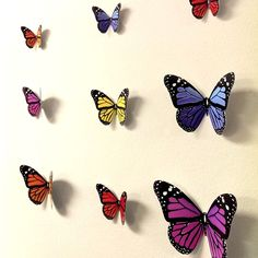 Diy 3d Butterfly Wall Decor Butterfly Theme Room, 3d Butterfly Wall Decor, 3d Butterfly Wall Stickers, Butterfly Bedroom, Butterfly Art, Butterflies, Wall Mural Decals, Kids Room Wall Stickers, Wall Decor Stickers
