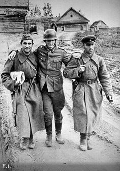 Prisoners. ... WW2. Two Russian soldiers are helping the wounded German soldier prisoner go.