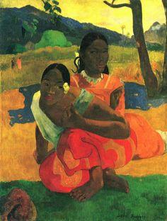 Paul Gauguin.  Wann heiratest du? (Nafea faa ipoipo?).1892, Öl auf Leinwand, 101 × 77cm.Basel, Rudolf Staechelin'sche Familienstiftung.Synthetismus.Frankreich.Postimpressionismus.  KO 00328