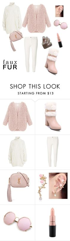 """Faux fur 4"" by yasmine-elansary ❤ liked on Polyvore featuring Faith Connexion, Dorothy Perkins, Yves Saint Laurent and MAC Cosmetics"