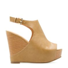 Raya's slingback, peep-toe upper rests on a stacked platform wedge. Get an instant hippie-haute effect with this chic new slide by Leila Stone. Crazy Shoes, Me Too Shoes, Bling Shoes, Tan Wedges, Shoe Dazzle, Summer Shoes, Wedge Heels, Shoe Boots, Peep Toe