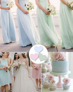 pastel bridesmaids dresses with mint green and pink #tulleandchantilly