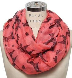 Horse Coral Print Infinity Scarf