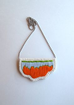 Embroidered necklace abstract pendant with lime green orange and gray on a silver ball chain perfect for Spring and Summer