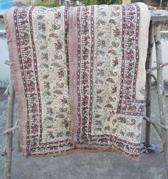 Elephant design handblock printed cotton quilt / 100% cotton AC blanket