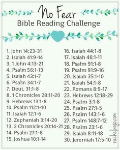 Welcome to the No Fear Bible Reading Challenge! I have to admit, I couldn't decide exactly what to call this Bible reading challenge. Fear Not? I'm not sure what drove me … Bible Study Plans, Bible Plan, Bible Study Tips, Couples Bible Study, Bible Lessons, Scripture Reading, Scripture Study, Daily Bible Reading Plan, Bible Study On Prayer