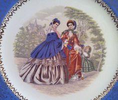 Vintage 1940s Blue Godey Print Service Plate by AnchorLineVintage