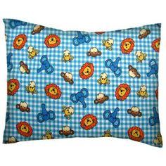SheetWorld Crib / Toddler Pillow Case - Cotton Flannel - Safari Animals Blue Check