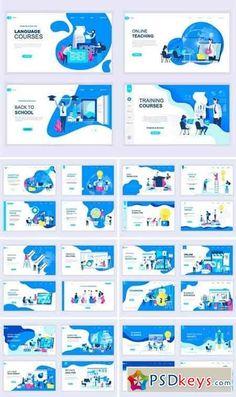 Landing Page Templates Flat Concept Bundle Design Sites, Page Design, Design Design, Flat Web Design, Web Design Trends, Web Layout, Layout Design, Webdesign Portfolio, Powerpoint Design Templates