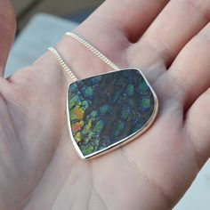 Dragonskin Ammolite Pendant Necklace One of a by GLAMROCKSdesigns