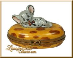 Mouse Laying on Cheese Limoges Box Retired.